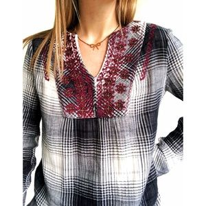 Anthropologie Floreat Embroidered Flannel Tunic XS